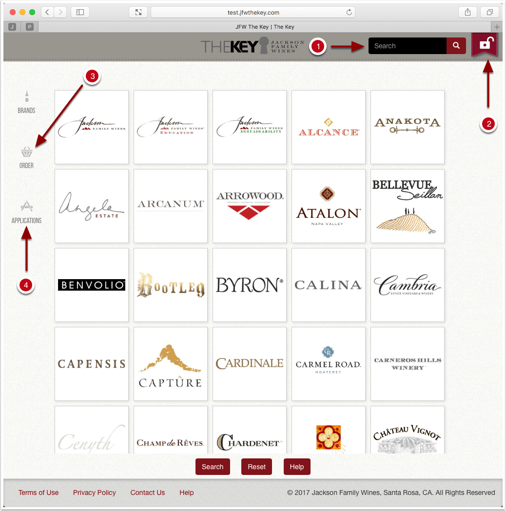 JFW Brand logos arranged in a grid with search and reset buttons below