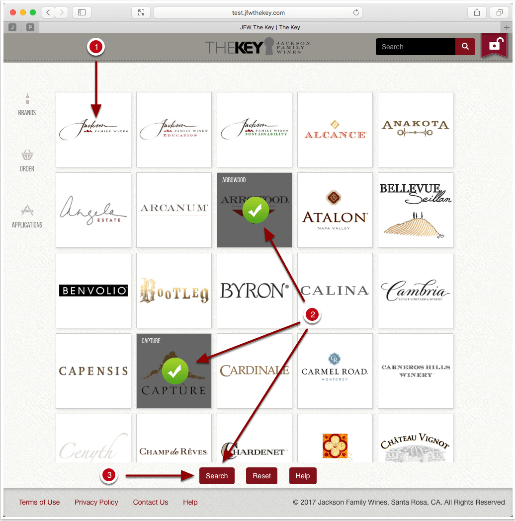 Select brands by clicking a brand or multiple brands and then click submit